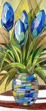 在花瓶的抽象蓝色花 免版税库存照片