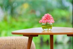 在花瓶的桃红色花在桌上在庭院里 免版税库存图片