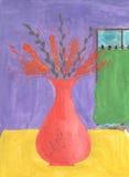 在花瓶的水彩狂放的耳朵 免版税库存图片
