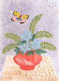 在花瓶的水彩野花有蝴蝶的 免版税库存图片