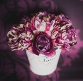 在花瓶的紫罗兰色郁金香 库存图片