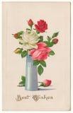 在花瓶葡萄酒明信片的最好祝愿玫瑰 免版税库存照片