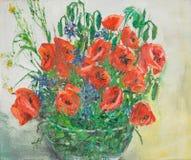 在花瓶,油画的充满活力的鸦片花束 向量例证