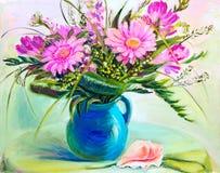 在花瓶,油画的花 免版税库存照片