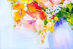 在花瓶,油画的野花 免版税库存图片