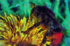 绘在花的一只蜂 免版税图库摄影