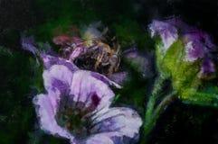 绘在花的一只蜂 库存照片