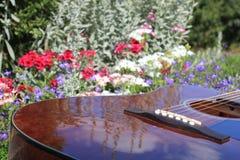 在花的吉他 图库摄影