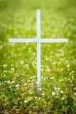 在花的领域的十字架 免版税库存图片