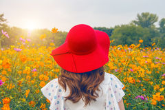 戴在花的领域的妇女一个红色帽子 库存照片