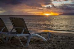 在花花公子Vallon海滩的日落 库存照片