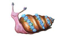 在花花圈的美丽的水彩蜗牛 滑稽的可笑的微笑的字符 向量例证