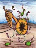 在花风景的喇叭 免版税库存图片