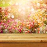 在花bokeh背景的空的木甲板桌产品蒙太奇显示的 春天或夏季 库存照片