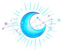 在芳香树脂或manga样式的神秘的新月形月亮 手拉的传染媒介 向量例证