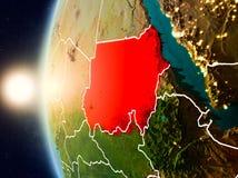 在苏丹上的日落从空间 免版税库存照片
