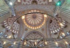 在苏丹阿哈迈德清真寺蓝色清真寺,伊斯坦布尔的装饰的天花板 库存照片