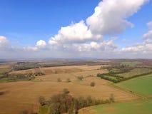 在苏克塞斯乡下的空中图象在春天 免版税库存照片
