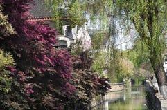 在苏州` s平江区,苏州,中国的运河场面 图库摄影