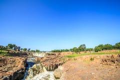 在苏族瀑布,南达科他,美国的瀑布 库存图片
