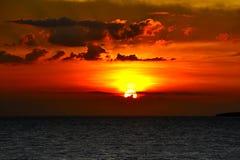 在苏梅岛海岛的日落 库存图片