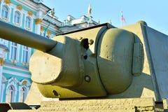 在苏联中型油箱T-34的塔的孔塑造1941年 库存照片