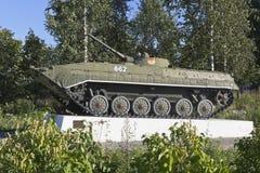 在苏联大道的BMP-1在Belozersk沃洛格达州地区城市,俄罗斯 库存图片