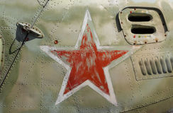 在苏联/俄国直升机的红色星 库存照片