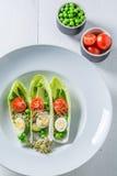 在苦苣生茯的非凡沙拉用鲕梨、芦笋和豌豆 库存图片