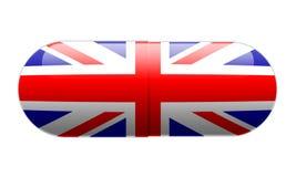 在英国国旗旗子包裹的药片 免版税库存图片
