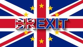 在英国国旗的BREXIT与欧盟-从欧盟的英国撤退星花圈  向量例证