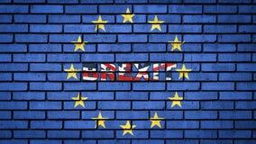 在英国旗子的颜色的词BREXIT在欧盟星里面的在蓝色砖墙上 库存例证