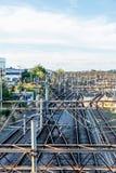 在英国铁路电线的天视图  库存照片