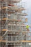 在英国建造场所的脚手架 库存照片