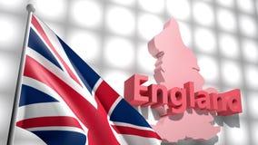 在英语地图的英国旗子  股票录像