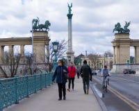 在英雄的正方形的千年纪念碑在布达佩斯,匈牙利 免版税库存照片