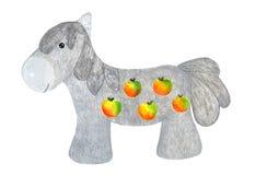 在苹果的灰色马 额嘴装饰飞行例证图象其纸部分燕子水彩 免版税库存照片