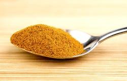 在茶匙的明亮的姜黄粉末 免版税库存图片