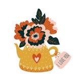 在茶壶的手拉的花有标记的- `我爱你` 斯堪的纳维亚样式传染媒介例证,情人节卡片 免版税库存图片