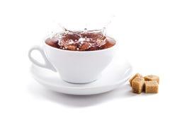 在茶杯的新鲜的健康茶飞溅 免版税库存图片