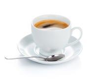 在茶碟的杯咖啡 查出在白色 免版税库存照片