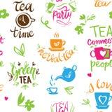 在茶葡萄酒印刷品茶时间印刷术海报设计茶壶五o时钟上写字的下午茶时间行情集合传染媒介 免版税库存图片