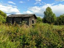 在草丛林的一个被放弃的被毁坏的木棚子  免版税库存图片