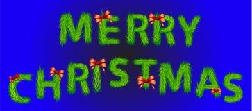 在草做的圣诞快乐信件 图库摄影
