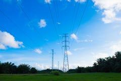 在草原的电塔 库存图片