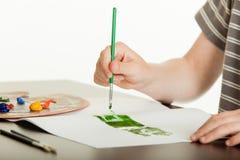 绘在草图的年轻男孩绿色字法 免版税库存图片