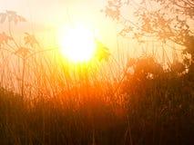 从Chaeng小山,清莱泰国的太阳上升 库存图片
