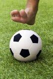 在草地的戏剧橄榄球没有鞋子 免版税库存图片