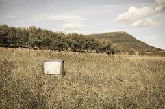 在草地的被放弃的老或古色古香的电视 免版税库存照片