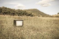 在草地的被放弃的老或古色古香的电视 库存照片